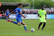 AFC Wimbledon midfielder Jake Reeves (8) with a cross field pass during the EFL Sky Bet League 1 match between AFC Wimbledon and Peterborough United at the Cherry Red Records Stadium, Kingston, England on 17 April 2017. Photo by Matthew Redman.