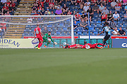 Amadi-Holloway scores Wycombes second goal during the Sky Bet League 2 match between Wycombe Wanderers and York City at Adams Park, High Wycombe, England on 8 August 2015. Photo by Simon Davies.
