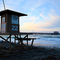Newport Beach, CA photo. Newport pier and lifeguard tower on Balboa Peninsula in Orange County Southern California.