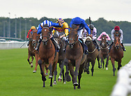 Royal associate ridden by Martin lane (royal blue) wins Jollys Jewellers Maiden  Stakes during the Racing Welfare Charity Raceday meeting at Doncaster Racecourse, Doncaster<br /> Picture by Martin Lynch/Focus Images Ltd 07501333150<br /> 07/07/2017