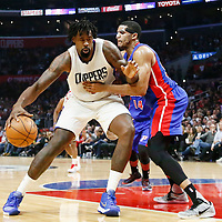 07 November 2016: Los Angeles Clippers center DeAndre Jordan (6) posts up Detroit Pistons forward Tobias Harris (34) during the LA Clippers 114-82 victory over the Detroit Pistons, at the Staples Center, Los Angeles, California, USA.
