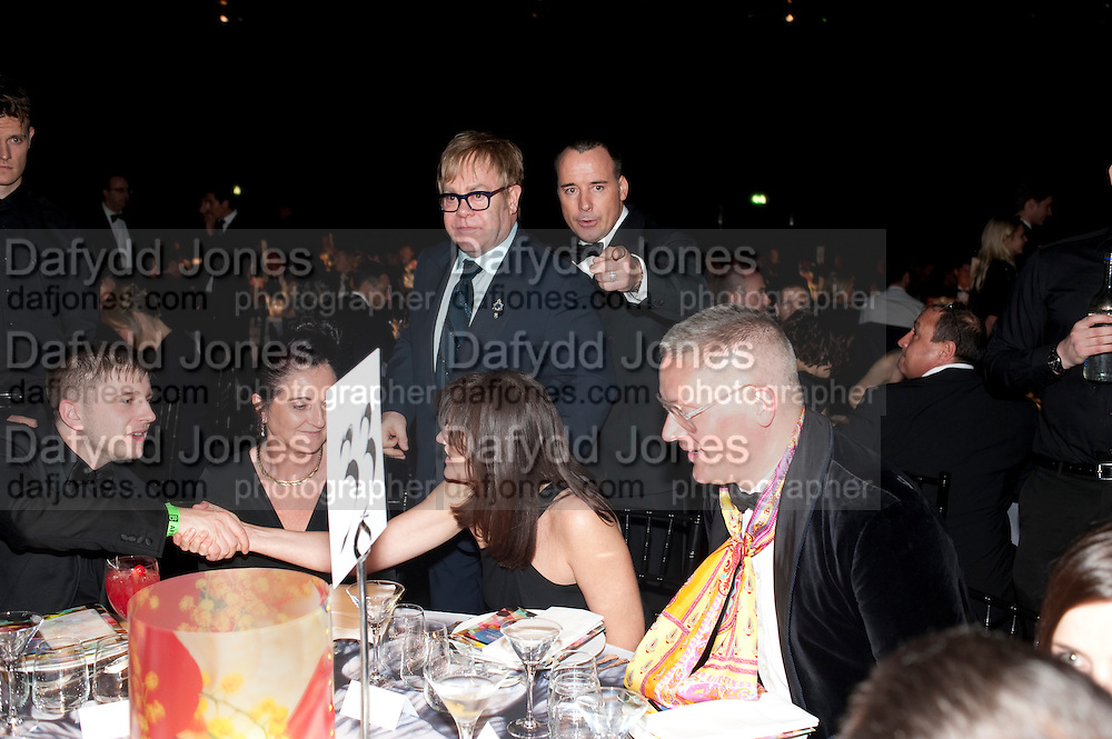 BEN DREW; ( PLAN B ); SIR ELTON JOHN; DAVID FURNISH; GILES DEACON, Grey Goose Winter Ball to Benefit the Elton John AIDS Foundation. Battersea park. London. 29 October 2011. <br /> <br />  , -DO NOT ARCHIVE-© Copyright Photograph by Dafydd Jones. 248 Clapham Rd. London SW9 0PZ. Tel 0207 820 0771. www.dafjones.com.