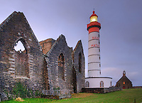 Dusk on the lighthouse of Pointe Saint-Mathieu, Finistere, Bretagne, Brittany, France