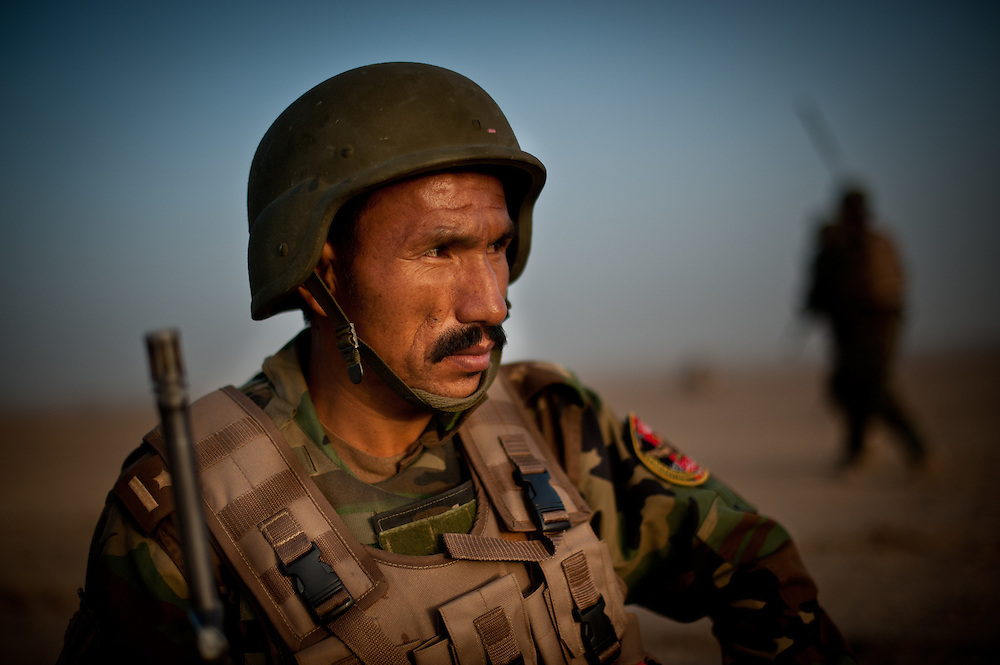 An Afghan National Army lietuenant takes a patrol break.