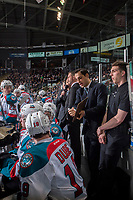 KELOWNA, CANADA - MARCH 24: Travis Crickard, assistant coach of the Kelowna Rockets goes over a play on the bench against the Kamloops Blazers on March 24, 2017 at Prospera Place in Kelowna, British Columbia, Canada.  (Photo by Marissa Baecker/Shoot the Breeze)  *** Local Caption ***