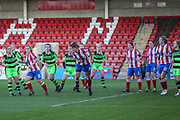 Cheltenham Town defend a corner during the Gloucestershire FA Trophy match between Cheltenham Town Ladies FC and Forest Green Rovers Ladies FC at LCI Rail Stadium, Cheltenham, England on 19 November 2017. Photo by Shane Healey.