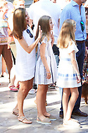 Queen Letizia of Spain, Crown Princess Leonor, Princess Sofia visit the Miro exhibition at Can Prunera museum in Soller on August 6, 2017 in Balearic Island, Spain