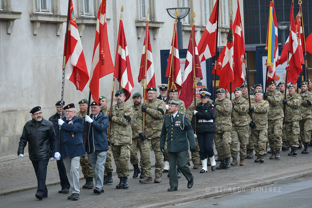 20.02.2018. Copenhagen, Denmark. <br /> HRH Prince Henrik's funeral at the Christiansborg Palace Church, Veterans carried Danish flags during the funeral of Prince Henrik.<br /> Photo: Ricardo Ramirez.