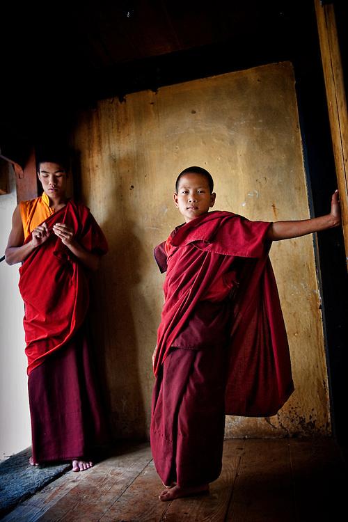 Asia, Tibet, Bhutan, Chimi Lhakhang, Lama Kunley, Fertility, Monastery, Temple, monk, monks, young, children, boy