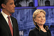 Democratic frontrunners' Senators Barack Obama and Hillary Clinton prepare to debate on the University of Texas Campus in Austin Texas, February 21 2008.