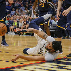 Mar 11, 2018; New Orleans, LA, USA; New Orleans Pelicans forward Anthony Davis (23) saves a loose ball during the first half against the Utah Jazz at the Smoothie King Center. Mandatory Credit: Derick E. Hingle-USA TODAY Sports