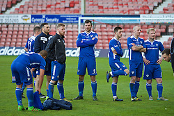 WREXHAM, WALES - Monday, May 2, 2016: Airbus UK Broughton's Chris Budrys and team-mates look dejected after losing 2-0 to The New Saints during the 129th Welsh Cup Final at the Racecourse Ground. (Pic by David Rawcliffe/Propaganda)