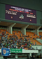 GUANGZHOU, CHINA - Wednesday, July 13, 2011: The scoreboard records Liverpool's 4-3 victory over Guangdong Sunray Cave during the first pre-season friendly on day three of the club's Asia Tour at the Tianhe Stadium. (Photo by David Rawcliffe/Propaganda)
