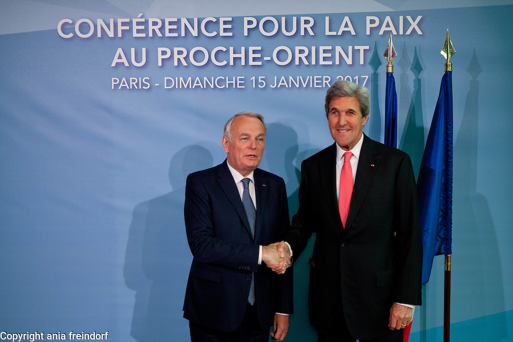 Middle East Peace Conference, Paris, France. International summit. 7O countries have participated in the summit. Jean-Marc Ayrault, French politician, Foreign Affaires Minister of France. John Kerry,  68th United States Secretary of State