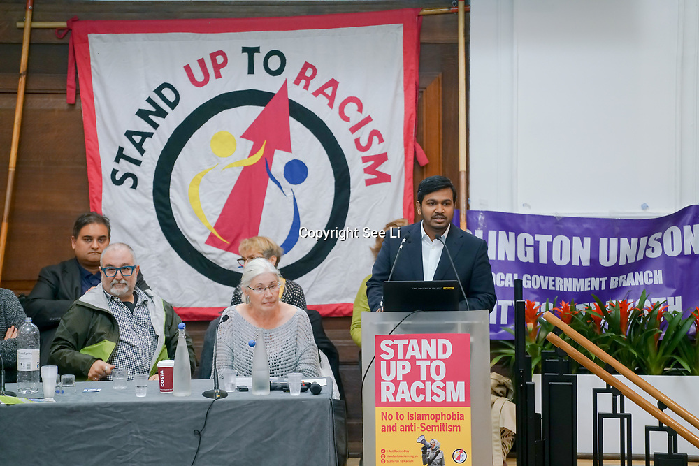 London, England, UK. 21st October 2017. Speaker Talha Ahmad of Muslim Council of Britain at the National Conference: Confronting the rise in racism, Islamophobia and anti-semitism in the U.S. and Europe at the Friends House, Euston.