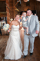 The bridal couple and son enter the elegant and rustic Big Barn at West Overton Museum in Scottdale PA