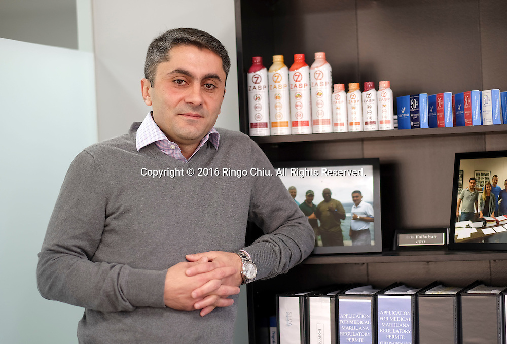 Avis Bulbulyan, founder and chief executive of cannabis consulting firm Siva Enterprises.(Photo by Ringo Chiu/PHOTOFORMULA.com)<br /> <br /> Usage Notes: This content is intended for editorial use only. For other uses, additional clearances may be required.