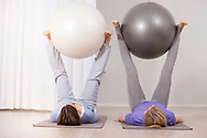 Women, Pilates, Exercise Ball, Balance, Strength,
