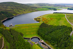 Aerial view of Whiteadder reservoir in East Lothian. Scotland, UK.