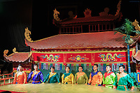 The puppeteers take a bow for the crowd at the Golden Dragon Water Puppet Theatre in Ho Chi Minh City, Vietnam