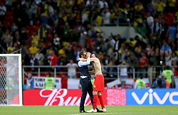 England manager Gareth Southgate (left) celebrates with England's Eric Dier after winning the FIFA World Cup 2018, round of 16 match at the Spartak Stadium, Moscow.