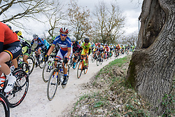 Pauline Ferrand Prevot takes on the first gravel sector - 2016 Strade Bianche - Elite Women, a 121km road race from Siena to Piazza del Campo on March 5, 2016 in Tuscany, Italy.