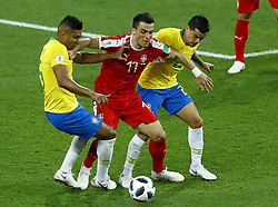 June 27, 2018 - Moscow, Russia - Group E Serbia v Brazil - FIFA World Cup Russia 2018.Aleksandar Kolarov (Serbia) between Casemiro (Brazil) and Fagner (Brazil) at Spartak Stadium in Moscow, Russia on June 27, 2018. (Credit Image: © Matteo Ciambelli/NurPhoto via ZUMA Press)