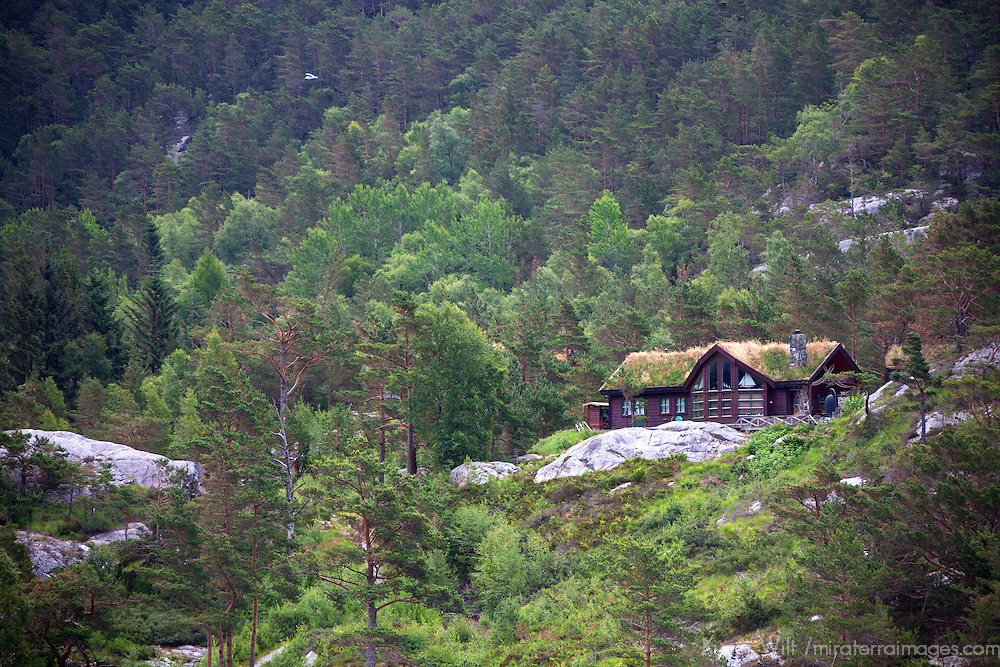 Europe, Norway, Lysefjord. Norwegian Home in Lysefjord.