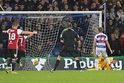 GOAL 3-2 Brentford defender Henrik Dalsgaard (22) scores Brentford's second during the EFL Sky Bet Championship match between Queens Park Rangers and Brentford at the Loftus Road Stadium, London, England on 10 November 2018.