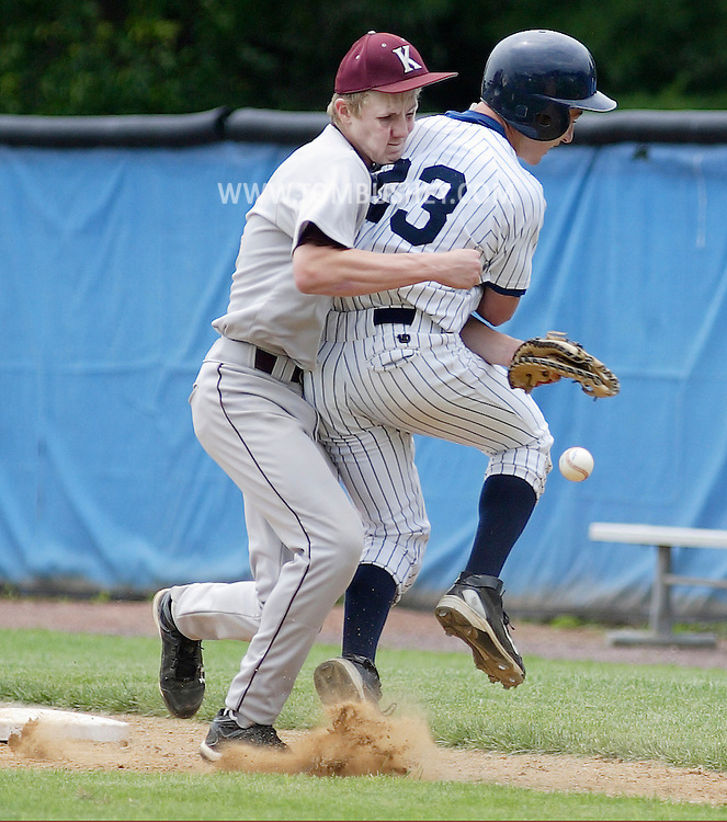 Kingston first baseman Matt Fletcher, left, collides with Pine Bush's Andrew Overton while reaching for the ball during the Section 9 Classs AA baseball championship game at SUNY New Paltz on Friday June 1, 2012.