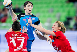 Katarina Jezic of HCM Baia Mare and Mirjeta Bajramoska of RK Krim Mercator during handball match between RK Krim Mercator (SLO) and HCM Baia Mare (ROM) in 1st Round of Women's EHF Champions League 2015/16, on October 16, 2015 in Arena Stozice, Ljubljana, Slovenia. Photo by Urban Urbanc / Sportida