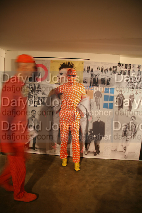 Andrew Logan and Andre Bartenev. i-Dentity opening. Celebrating 25 years of i-D. Fashion and Textile magazine. Ber5mondsey St. London. SE1. 13 October  2005. ONE TIME USE ONLY - DO NOT ARCHIVE © Copyright Photograph by Dafydd Jones 66 Stockwell Park Rd. London SW9 0DA Tel 020 7733 0108 www.dafjones.com