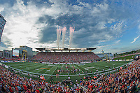 Fireworks go off from the North Stand of TD Place Stadium in Ottawa, ON. Canada as it was officially announced that Ottawa will host the 2017 Grey Cup before the CFL match between the Ottawa REDBLACKS and the Toronto Argonauts on July 31, 2016.