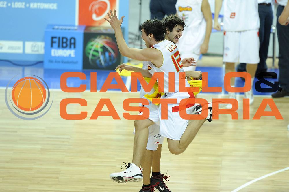 DESCRIZIONE : Katowice Poland Polonia Eurobasket Men 2009 Semifinale Semifinal Spagna Spain Grecia Greece<br /> GIOCATORE : Sergio Llull Ricky Rubio<br /> SQUADRA : Spagna Spain<br /> EVENTO : Eurobasket Men 2009<br /> GARA : Spagna Spain Grecia Greece<br /> DATA : 19/09/2009 <br /> CATEGORIA : esultanza<br /> SPORT : Pallacanestro <br /> AUTORE : Agenzia Ciamillo-Castoria/G.Ciamillo<br /> Galleria : Eurobasket Men 2009 <br /> Fotonotizia : Katowice  Poland Polonia Eurobasket Men 2009 Semifinale Semifinal Spagna Spain Grecia Greece<br /> Predefinita :