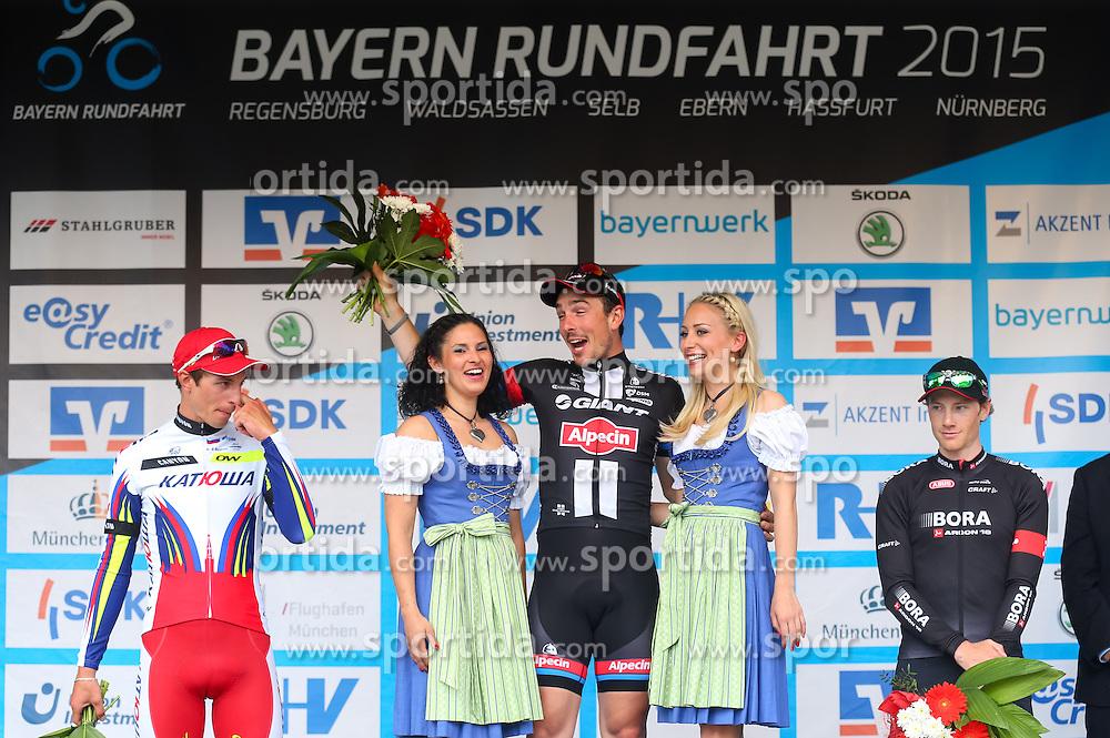 Radsport: 36. Bayern Rundfahrt 2015 / 5. Etappe, Hassfurt - Nuernberg, 17.05.2015<br /> Cycling: 36th Tour of Bavaria 2015 / Stage 5, <br /> Hassfurt - Nuernberg, 17.05.2015<br /> Siegerehrung - podium, # 46 Selig, Ruediger (GER, TEAM KATUSHA), # 51 Degenkolb, John (GER, TEAM GIANT - ALPECIN), # 112 Barta, Jan (CZE, Team BORA-ARGON 18)