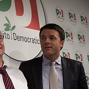 9 December, Rome: in the PD head office, Guglielmo Epifani (on the left), outgoing party leader with Matteo Renzi - the new PD party leader just elected the day before - at the first press conference