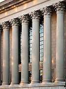Detail view of columns on the exterior of the National Archives building, Washington, DC