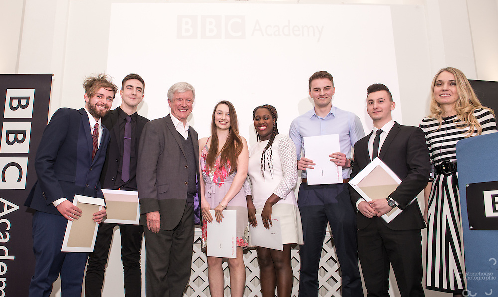 BBC DG Tony Hall and NCTJ Chief Executive Joanne Butcher percent certificates to students at the BBC Academy Local Apprenticeship Scheme Awards 2016 at The Custard Factory, Old Library, Birmingham, 24th, February.2016<br /> <br /> James Rabey, Jayde Pearson, Jen Flower, Jonathan Finch, Jonathan Smith, Joshua Cook.