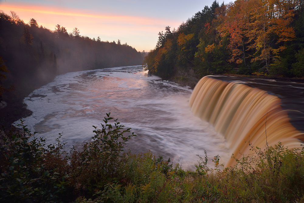 A fall sunrise over Upper Tahqumenon Falls<br />