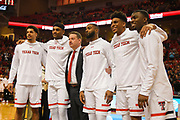 LUBBOCK, TX - MARCH 3: Head coach Chris Beard poses with (left to right) Zach Smith #11, Tommy Hamilton IV #0, Niem Stevenson #10, Justin Gray #5 and Keenan Evans #12 of the Texas Tech Red Raiders during Senior Day activities before the game between the Texas Tech Red Raiders and the TCU Horned Frogs on March 3, 2018 at United Supermarket Arena in Lubbock, Texas. Texas Tech defeated TCU 79-75. Texas Tech defeated TCU 79-75. (Photo by John Weast/Getty Images) *** Local Caption *** Zach Smith,Tommy Hamilton IV;Chris Beard;Niem Stevenson;Justin Gray;Keenan Evans