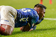 Alfredo Morelos left rolling in pain during the William Hill Scottish Cup quarter final replay match between Rangers and Aberdeen at Ibrox, Glasgow, Scotland on 12 March 2019.