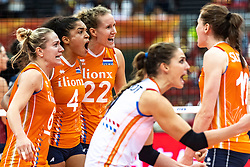 15-10-2018 JPN: World Championship Volleyball Women day 16, Nagoya<br /> Netherlands - USA 3-2 / Maret Balkestein-Grothues #6 of Netherlands, Celeste Plak #4 of Netherlands, Nicole Koolhaas #22 of Netherlands, Myrthe Schoot #9 of Netherlands, Lonneke Sloetjes #10 of Netherlands
