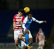 28th March 2018, McDiarmid Park, Perth, Scotland; Scottish Premier League football, St Johnstone versus Hamilton Academical; Dougie Imrie of Hamilton Academical and Matty Willock of St Johnstone battle in the air