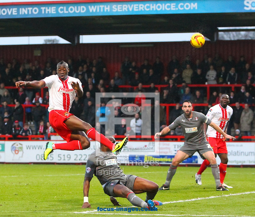 Picture by John Rainford/Focus Images Ltd +44 7506 538356<br /> 16/11/2013<br /> Francois Zoko of Stevenage beats the Rotherham United defence during the Sky Bet League 1 match at the Lamex Stadium, Stevenage.
