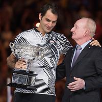 Roger Federer of Switzerland and Rod Laver after the men's final on day fourteen of the 2017 Australian Open at Melbourne Park on January 29, 2017 in Melbourne, Australia.<br /> (Ben Solomon/Tennis Australia)