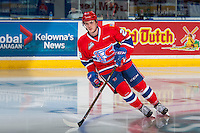 KELOWNA, CANADA - FEBRUARY 17: Rykr Cole #28 of the Spokane Chiefs warms up on the ice against the Kelowna Rockets on February 17, 2017 at Prospera Place in Kelowna, British Columbia, Canada.  (Photo by Marissa Baecker/Shoot the Breeze)  *** Local Caption ***