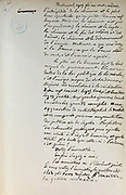 Handwritten notes for a speech supporting a bill offering amnesty to the communards (participants in the Paris Commune), 1876, page 16 bis, by Victor Hugo, 1802-85, French writer, housed in the Archives du Senat, in the Senate in the Palais du Luxembourg, 6th arrondissement, Paris, France. Hugo was a senator for Seine 1876-85, and gave this speech on 22nd May 1876. Although this bill was not passed, a general amnesty was granted in 1880. Picture by Manuel Cohen