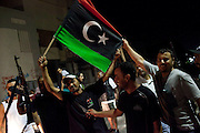 22 august 2011. Anti Gheddafi people demonstrate in the street during the night after the Rebels enter in the city of Tripoli.