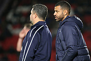 AFC Wimbledon caretaker manager Simon Bassey and Steven Reid during the EFL Sky Bet League 1 match between Doncaster Rovers and AFC Wimbledon at the Keepmoat Stadium, Doncaster, England on 17 November 2018.