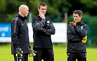 10/07/14      <br /> CELTIC TRAINING<br /> AUSTRIA<br /> Celtic manager Ronny Deila (centre) with assistant John Collins (right) and goalkeeping coach Stevie Woods